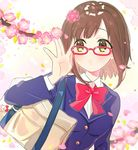 1girl adjusting_eyewear bag bangs blue_blazer bow bowtie brown_hair cherry_blossoms green_eyes highres idolmaster idolmaster_cinderella_girls maekawa_miku open_mouth petals red-framed_eyewear red_neckwear school_bag school_uniform short_hair solo swept_bangs tomato_omurice_melon