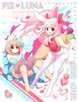 absurdres animal_ears black_eyes black_legwear bunny_ears bunny_tail carrot fiz_(fizintine) fizinite fizintine glasses green_sweater highres long_hair luna_(fizintine) navel open_mouth orange_hair original pillow pink_hair side_part sitting skirt tail white_legwear