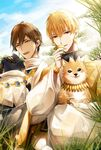 2boys black_gloves blonde_hair brown_hair day dog earrings fate_(series) gilgamesh gloves grass highres jewelry looking_at_viewer multiple_boys open_mouth outdoors ozymandias_(fate) red_eyes smile yellow_eyes