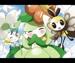 :o artist_request black_eyes blue_sky blush cloud cloudy_sky commentary_request day floette flower letterboxed lilligant no_humans one_eye_closed petals pokemon pokemon_(creature) ribombee sky smile