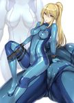 1girl ass blonde_hair blue blue_bodysuit blue_eyes blush bodysuit breasts breasts_apart cameltoe collarbone commentary_request covered_navel erect_nipples eyebrows_visible_through_hair gun hakaba_(dairiseki) highres holding holding_gun holding_weapon long_hair looking_at_viewer medium_breasts metroid multiple_views open_mouth ponytail pussy_juice samus_aran shiny shiny_clothes shiny_hair simple_background skin_tight weapon white_background zero_suit zoom_layer