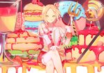 1boy :p axis_powers_hetalia blonde_hair cake candy crown doughnut food fruit green_eyes highres legs_crossed lollipop looking_at_viewer macaron mini_crown pancake poland_(hetalia) pudding solo strawberry tongue tongue_out yasato