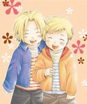 2boys alphonse_elric blonde_hair blush brothers edward_elric eyes_closed floral_background fullmetal_alchemist hand_on_another's_head happy jacket male_focus multiple_boys open_mouth pants pink_background shirt short_hair siblings simple_background smile uho_(uhoponta) white_shirt