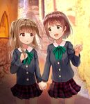 2girls :d bangs black_shirt blush brown_eyes brown_hair commentary_request cowboy_shot day eye_contact eyebrows_visible_through_hair green_neckwear hand_holding hand_on_own_chest highres light_brown_hair long_hair long_sleeves looking_at_another mimikaki_(men_bow) multiple_girls open_mouth original outdoors parted_lips plaid plaid_skirt pleated_skirt pointing railing red_skirt school_uniform shirt sign skirt smile stairs standing stone_stairs two_side_up upper_teeth yuri