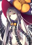 1girl abigail_williams_(fate/grand_order) bangs black_bow black_hat bow breasts commentary_request fate/grand_order fate_(series) glowing groin hat hat_bow highres hyoketu001 long_hair looking_at_viewer nipples orange_bow pale_skin parted_bangs parted_lips polka_dot polka_dot_bow red_eyes revealing_clothes simple_background small_breasts solo suction_cups tentacle topless very_long_hair white_background white_hair witch_hat