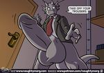 anthro balls big_balls bottomless claws clothed clothing comic dialogue dragon english_text erection fin grey_balls grey_penis head_fin huge_balls humanoid_penis hyper hyper_balls hyper_penis male naughtymorg necktie penis rape_face solo text