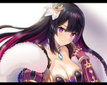 1girl armor bangs blush breasts character_request cleavage closed_mouth collarbone fur_trim gauntlets gem gradient gradient_background hair_ornament hairpin hand_up ichigo_seika letterboxed long_hair looking_at_viewer pink_hair purple_eyes purple_hair shironeko_project shoulder_armor smile solo two_side_up upper_body very_long_hair white_background wrist_cuffs