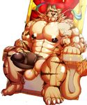 5_toes abs anthro arm_hair baconking balls belly biceps big_penis black_eyes black_nose bottomless brown_hair bulge chair clenched_teeth clothed clothing erection fangs feline fur hair huge_penis humanoid_penis hyper hyper_muscles leg_hair male mammal manly mature_male muscular muscular_male nipples nude partially_retracted_foreskin pecs penis relaxing saber-toothed_cat sitting solo stripes tan_fur teeth thick_penis throne tiger toes topless uncut vein veiny_penis whiskers