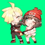 1boy 1girl bag beanie black_hair black_pants blonde_hair chibi gladio_(pokemon) green_background green_eyes green_shorts hair_over_one_eye handbag hat long_sleeves lowres mizuki_(pokemon_sm) one_eye_closed open_mouth pants pokemon pokemon_(game) pokemon_sm red_hat shirt short_hair short_sleeves shorts simple_background tied_shirt torn_clothes torn_pants zuizi