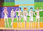 6+boys ;) barefoot blonde_hair blue_hair bottle brothers f6 glasses green_hair hand_on_hip lineup looking_at_viewer male_focus male_swimwear matsuno_choromatsu matsuno_ichimatsu matsuno_juushimatsu matsuno_karamatsu matsuno_osomatsu matsuno_todomatsu multiple_boys naked_towel off_shoulder official_art one_eye_closed osomatsu-kun osomatsu-san pink_hair purple_hair red_hair removing_eyewear robe sextuplets siblings smile swim_briefs swimwear towel undressing