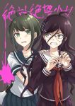 2girls ahoge angry bekkourico black_shirt blood blush brown_eyes brown_hair collarbone commentary_request danganronpa danganronpa_1 dot_nose eyebrows_visible_through_hair fukawa_touko glasses grey_eyes hair_between_eyes hair_ornament hairclip hand_on_shoulder long_hair looking_at_another looking_at_viewer megaphone multiple_girls naegi_komaru necktie open_eyes open_mouth pink_blood pleated_skirt purple_hair red_neckwear school_uniform serafuku shirt short_hair skirt tearing_up teeth torn_clothes translation_request upper_body zettai_zetsubou_shoujo
