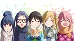 5girls ^_^ blue_hair blush chikuwa_(yurucamp) eyebrows_visible_through_hair eyes_closed fang glasses gloves hair_between_eyes hair_bobbles hair_bun hair_ornament highres inuyama_aoi jacket kagamihara_nadeshiko long_hair looking_at_viewer multiple_girls oogaki_chiaki open_mouth pink_hair saitou_ena scarf shigoto_manblue shima_rin short_hair side_ponytail smile thick_eyebrows twintails yurucamp