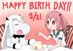 birthday_cake bunny cake chair collar commentary_request eyes_closed food food_on_face fork gradient gradient_background hair_bobbles hair_ornament happy holding holding_food holding_fork horns kantai_collection long_hair mittens moomin muppo northern_ocean_hime open_mouth pink_eyes pink_hair sazanami_(kantai_collection) sazanami_konami school_uniform serafuku shinkaisei-kan short_sleeves sidelocks sitting table twintails white_hair
