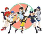 6+girls :d adjusting_eyewear animal_print asics bangs baseball baseball_bat baseball_cap baseball_glove baseball_jersey batting_stance black_footwear black_hair black_hat black_legwear blue_bow blue_hair blue_hat blue_legwear blue_shirt blue_skirt blush bow bracelet breasts brown_eyes brown_hair chunichi_dragons cleats cleavage earrings elbow_pads frown fujimoto_rina full_body glasses gloves grey_shirt hair_bow hanshin_tigers hat hat_bow highres hiroshima_touyou_carp holding_baseball_bat houjou_karen idolmaster idolmaster_cinderella_girls jewelry kamijou_haruna kneehighs left-handed leopard_print long_hair looking_at_viewer mimura_kanako multiple_girls nail_polish navy_blue_legwear navy_blue_shirt necklace nigou nippon_professional_baseball one_eye_closed open_mouth orange_footwear orange_gloves orange_hair orange_skirt over-rim_eyewear pink-framed_eyewear pink_nails pinstripe_pattern pitching plaid plaid_skirt platform_footwear pleated_skirt purple_eyes raglan_sleeves red_footwear red_shirt semi-rimless_eyewear shin_guards shirt shoes short_hair short_sleeves shorts sidelocks skirt smile sneakers socks standing standing_on_one_leg striped swept_bangs swinging tachibana_arisu thighhighs tokyo_yakult_swallows v wakui_rumi white_footwear white_shorts white_skirt yellow_shirt yokohama_dena_baystars yomiuri_giants zettai_ryouiki