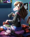 1girl absurdres animal_hood ass brown_hair bubble_blowing bunny_hood chewing_gum controller d.va_(overwatch) doritos eudetenis game_controller headphones highres hood hoodie looking_at_viewer looking_back overwatch pilot_suit playing_games sitting solo whisker_markings