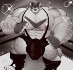 abs baconking biceps black_nose body_hair canine claws clothing fingerless_gloves front_view gloves hair huge_bulge huge_muscles legwear looking_at_viewer male mammal mane mask monochrome muscular muscular_male navel nipples pecs shirt solo standing tank_top triceps wolf