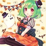 1girl :o black_bow black_hat black_legwear blush bow braid brooch corset crown_braid flower_knight_girl ghost green_hair halloween hat houzuki_michiru jack-o'-lantern jewelry looking_at_viewer mini_hat mini_top_hat open_mouth orange_skirt pepo_(flower_knight_girl) polka_dot red_eyes short_hair skirt solo striped striped_legwear thighhighs top_hat vertical-striped_legwear vertical_stripes