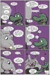 2018 alligator angie_(study_partners) anthro breasts clothed clothing comic crocodilian dialogue elephant english_text eyes_closed fangs female green_eyes hand_holding laugh male mammal open_mouth ragdoll_(study_partners) reptile scalie speech_bubble study_partners teeth text thunderouserections tongue trunk tusks
