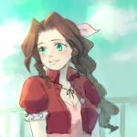 1girl aerith_gainsborough bow braid brown_hair chocolate_hair commentary_request cropped_jacket dress final_fantasy final_fantasy_vii green_eyes hair_ribbon pink_bow pink_dress ponytail ribbon single_braid solo uboar