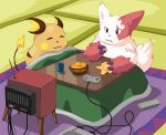 2009 anthro black_nose duo eating eyes_closed food lako nintendo pokémon pokémon_(species) raichu sitting super_nintendo television video_games zangoose