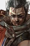 1boy auron brown_eyes brown_hair coat facial_hair final_fantasy glasses hankuri looking_at_viewer male_focus nose short_hair silver-framed_eyewear solo spiked_hair stubble upper_body v-shaped_eyebrows white_background