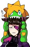 1boy 1girl annoyed biting blanka blanka-chan blue_eyes bodysuit chocolate_hair drill_hair eye_(mememem) eyepatch googly_eyes green_skin han_juri jacket on_head open_clothes open_jacket orange_hair purple_eyes sharp_teeth street_fighter street_fighter_v stuffed_toy teeth twin_drills unamused upper_body