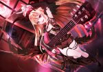1girl absurdres bass_guitar blonde_hair blush eyebrows_visible_through_hair highres holding holding_instrument instrument long_hair looking_at_viewer music open_mouth pianika playing_instrument red_eyes shadowverse smile solo vampy