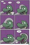 2018 alligator angie_(study_partners) anthro clothed clothing comic crocodilian elephant english_text eyes_closed faceless_male fangs female green_eyes laugh male mammal open_mouth ragdoll_(study_partners) reptile scalie speech_bubble study_partners teeth text thunderouserections tickling tongue trunk young