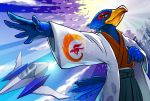 anthro arwing avian beak bird clothed clothing falco_lombardi falcon feathers half-closed_eyes japanese japanese_clothing kagure male nintendo smile solo spacecraft standing star_fox vehicle video_games yukata