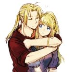 1boy 1girl ahoge blonde_hair blue_eyes blue_shirt edward_elric eyebrows_visible_through_hair eyes_closed fullmetal_alchemist hug hug_from_behind long_hair ponytail red_shirt shirt sketch sleeves_folded_up tsukuda0310 winry_rockbell