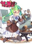 1girl :< aoi_tsunami ascot black_legwear blue_neckwear blush brown_eyes brown_jacket character_request closed_mouth collared_dress copyright_name dress glasses green_hair holding jacket long_hair machine no_shoes official_art red-framed_eyewear ringlets robot screwdriver simple_background sitting solo striped striped_legwear thighhighs twintails uchi_no_hime-sama_ga_ichiban_kawaii vertical-striped_legwear vertical_stripes very_long_hair wariza white_background white_dress wrench