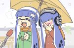 2girls :d ^_^ ^o^ blue_hair blush bobble-chan_(splatoon) bobblehat commentary_request domino_mask embarrassed eyes_closed facepalm fangs green_jacket headphone-chan_(splatoon) headphones heart jacket light_blush mask meme microphone multiple_girls nose_blush open_mouth orange_scarf red_jacket scarf smile snowing special_feeling_(meme) splatoon splatoon_(manga) taomeganetao tentacle_hair umbrella yuri