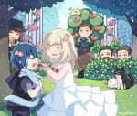 1girl 5boys ardyn_izunia beard blonde_hair blue_hair bush camera carbuncle_(final_fantasy) chocobo chocolate chocolate_heart cor_leonis disguise dress eyes_closed facial_hair feeding final_fantasy final_fantasy_xv flower grass hat heart hiding lunafreya_nox_fleuret multiple_boys noctis_lucis_caelum nyx_ulric peeping pryna_(ff15) regis_lucis_caelum rose smile stubble umbra_(ff15) white_dress younger zozakura