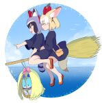2girls :d ^_^ alternate_costume ancolatte_(onikuanco) animal_ears black_hair black_robe blonde_hair bow broom broom_riding brown_eyes cage commentary common_raccoon_(kemono_friends) cosplay extra_ears eyes_closed fennec_(kemono_friends) flying food fox_ears gloves grey_gloves hair_bow hairband highres hug hug_from_behind kemono_friends kiki kiki_(cosplay) lucky_beast_(kemono_friends) majo_no_takkyuubin multicolored_hair multiple_girls open_mouth pointing raccoon_ears raccoon_tail red_footwear short_hair smile striped_tail tail white_hair