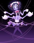 2018 arachnid arthropod clothed clothing digital_media_(artwork) female footwear hair hair_ribbon hi_res high_heels holding_object legwear looking_at_viewer maid_uniform muffet multi_arm multi_eye multi_limb pastelletta pigtails ribbons shoes short_hair solo spider undertale uniform video_games web