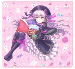 1girl alice_(wonderland) alice_in_wonderland black_bow black_footwear black_hat blush book boots bow candy card cheshire_cat eyebrows_visible_through_hair fate/grand_order fate_(series) food full_body grey_hair hair_bow hat highres holding holding_book lollipop long_hair looking_at_viewer nursery_rhyme_(fate/extra) open_book parted_lips petals playing_card purple_eyes seungju_lee solo star white_rabbit