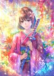 1girl bangs brown_eyes brown_hair butterfly closed_mouth colorful day flower hair_flower hair_ornament holding japanese_clothes katana kimono light_rays lips long_sleeves looking_at_viewer obi original petals pink_flower pink_kimono sakimori_(hououbds) sash sheath sheathed short_hair smile solo sunbeam sunlight sword tareme upper_body weapon wide_sleeves
