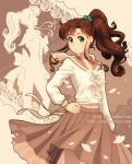 bishoujo_senshi_sailor_moon brown_hair brown_skirt dav-19 earrings green_eyes inner_senshi jewelry kino_makoto navel ponytail sailor_jupiter skirt