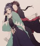 2boys black_hair blue_eyes bridal_gauntlets brown_hair eyes_closed hakama haori highres hug hug_from_behind injury japanese_clothes kashuu_kiyomitsu male_focus mole mole_under_eye mole_under_mouth multiple_boys nail_polish pants ponytail red_nails scarf shigeru shinsengumi torn_clothes torn_pants touken_ranbu yamato-no-kami_yasusada
