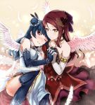 2girls angel_wings bare_shoulders blue_hair dress elbow_gloves feathers gloves hair_bun hair_ornament hand_holding hi-ho- highres jewelry love_live! love_live!_sunshine!! multiple_girls necklace one_eye_closed red_eyes red_hair sakurauchi_riko thighhighs tsushima_yoshiko wings yellow_eyes yuri