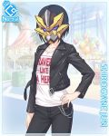 1girl amusement_park black_hair card_(medium) chains cygames jacket leather leather_jacket mask official_art pants princess_connect! shirogane_jun short_hair