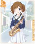 1girl blue_eyes brown_hair card_(medium) cygames instrument kazemiya_akari official_art one_eye_closed princess_connect! saxophone school_uniform tongue tongue_out two_side_up