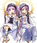 2girls :d arm_behind_head bangs bare_arms bare_shoulders barefoot_sandals bonnet bow bracelet choker dress euryale eyebrows_visible_through_hair fate/grand_order fate/hollow_ataraxia fate_(series) flat_chest full_body hairband halo jewelry lolita_hairband long_hair looking_at_viewer manarou multiple_girls necklace open_mouth parted_bangs purple_eyes purple_hair sandals see-through siblings simple_background sisters sitting sleeveless sleeveless_dress smile stheno twins twintails very_long_hair white_background white_dress