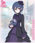 1girl blue_hair card_(medium) cygames gothic_lolita hat kamiki_shinobu lolita_fashion long_sleeves mini_hat mini_top_hat mole mole_under_eye official_art princess_connect! red_eyes ribbon short_hair skull top_hat