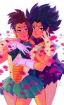 2girls absurdres bishoujo_senshi_sailor_moon black_eyes black_hair blue_skirt brown_hair caulifla cosplay cowboy_shot dragon_ball dragon_ball_super forehead_jewel gloves green_eyes green_skirt highres hug hug_from_behind kale_(dragon_ball) lem0uro light_smile lips looking_at_viewer multiple_girls petals pleated_skirt sailor_collar sailor_neptune sailor_neptune_(cosplay) sailor_senshi_uniform sailor_uranus sailor_uranus_(cosplay) skirt spiked_hair tiara white_gloves yuri