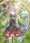 1girl absurdres ames artist_request blue_eyes flower hair_flower hair_ornament highres one_eye_closed pointy_ears princess_connect! princess_connect!_re:dive purple_hair ringlets rose