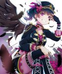 1girl \m/ alternate_hairstyle bangs black_choker black_feathers black_nails black_wings blue_hair choker commentary_request cross-laced_clothes earrings facial_mark feathered_wings feathers fingerless_gloves frilled_sleeves frills gloves grin hat hat_feather highres jacket jewelry legs_crossed looking_at_viewer love_live! love_live!_sunshine!! mia_(fai1510) nail_polish purple_eyes ring side_ponytail single_glove sitting smile solo star studded suspenders thighlet tsushima_yoshiko v_over_eye wings