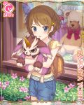 1girl backpack bag blue_eyes brown_hair card_(medium) cygames hair_ornament hairclip kazemiya_yori object_hug official_art princess_connect! shorts stuffed_toy
