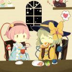 2girls ^_^ bacon bow chair commentary_request cup eating egg eyes_closed flower food green_hair hairband hat hat_bow hat_ribbon heart heart_of_string highres holding holding_cup kaenbyou_rin kaenbyou_rin_(cat) komeiji_koishi komeiji_satori long_sleeves moyo_(amaniwa) multiple_girls pink_hair plant plate potted_plant ribbon salad shelf short_hair sitting sleeping smile spoken_heart star steam table third_eye toast touhou wide_sleeves window zzz