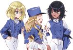 3girls adapted_uniform andou_(girls_und_panzer) arm_grab bangs bc_freedom_military_uniform black_hair blonde_hair blue_eyes blue_hat blue_jacket blue_vest brown_eyes closed_mouth commentary_request dark_skin dress_shirt drill_hair eyebrows_visible_through_hair eyes_closed girls_und_panzer hat hat_removed headwear_removed high_collar holding holding_hat jacket long_hair long_sleeves looking_at_another looking_back marie_(girls_und_panzer) medium_hair microskirt military military_hat military_uniform multiple_girls open_mouth oshida_(girls_und_panzer) pants pleated_skirt shako_cap shirt shutou_mq simple_background skirt smile standing uniform vest walking white_background white_pants white_shirt white_skirt